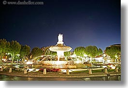 aix en provence, europe, fountains, france, horizontal, nite, provence, rotunda, slow exposure, structures, photograph