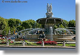 aix en provence, europe, flowers, fountains, france, horizontal, nature, plants, provence, rotunda, structures, trees, photograph