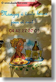 aix en provence, cafes, colors, europe, france, murals, provence, signs, vertical, yellow, photograph