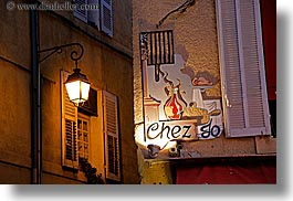 aix en provence, chez jo, europe, france, horizontal, lamp posts, nite, provence, signs, slow exposure, photograph