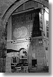 aix en provence, arts, black and white, creme, eclipse, europe, france, murals, nite, paintings, provence, signs, slow exposure, vertical, photograph
