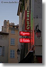 aix en provence, dusk, europe, france, lamp posts, neon, pizzeria, provence, signs, vertical, photograph