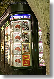 aix en provence, europe, france, magazines, provence, signs, slow exposure, stores, vertical, photograph