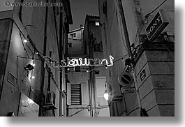 aix en provence, black and white, europe, france, horizontal, lights, nite, provence, restaurants, signs, slow exposure, photograph