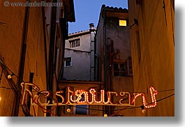 aix en provence, europe, france, horizontal, lights, nite, provence, restaurants, signs, slow exposure, photograph