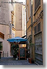 aix en provence, blues, cafes, colors, eumbrella, europe, france, provence, stores, vertical, photograph