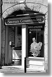 aix en provence, black and white, bread, europe, france, provence, shops, stores, vertical, photograph