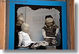 aix en provence, blues, childrens, colors, europe, france, horizontal, mannequins, people, provence, stores, windows, photograph