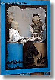 aix en provence, blues, childrens, colors, europe, france, mannequins, people, provence, stores, vertical, windows, photograph