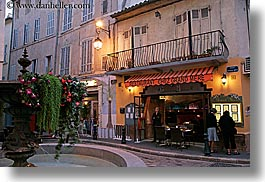 aix en provence, europe, flowers, fountains, france, horizontal, lamp posts, nature, provence, slow exposure, stores, structures, photograph