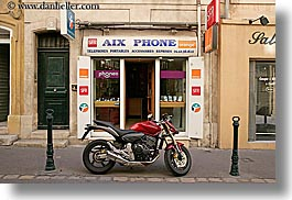 aix en provence, colors, europe, france, horizontal, motorcycles, provence, red, stores, transportation, photograph
