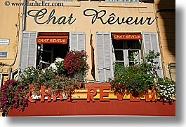 aix en provence, europe, flowers, france, horizontal, nature, provence, stores, windows, photograph