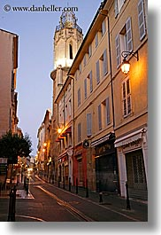 aix en provence, dim, dusk, europe, france, illuminated, long exposure, narrow streets, provence, streets, vertical, photograph