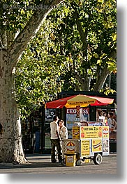 aix en provence, europe, foods, france, hot dog, provence, stands, streets, umbrellas, vertical, photograph
