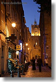 aix en provence, dusk, europe, france, narrow streets, nite, people, provence, slow exposure, streets, vertical, walking, photograph