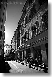 aix en provence, black and white, europe, france, motor cycles, provence, streets, vertical, photograph