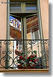 aix en provence, balconies, europe, flowers, france, provence, reflections, vertical, windows, photograph