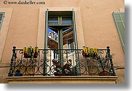 aix en provence, balconies, europe, flowers, france, horizontal, provence, reflections, windows, photograph