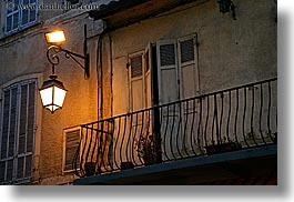 aix en provence, balconies, europe, france, horizontal, lamp posts, lamps, provence, railing, windows, photograph