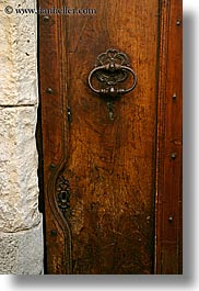 bargeme, browns, colors, doors, europe, france, knockers, provence, vertical, photograph