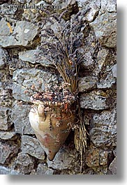 bargeme, dried, europe, flowers, france, materials, nature, provence, stones, vertical, walls, photograph