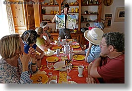 bargeme, colorful, colors, dining table, europe, france, furniture, groups, horizontal, lecture, lunch, people, provence, photograph