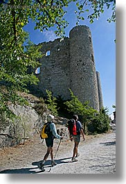 bargeme, castles, europe, france, hikers, hiking, materials, nature, people, plants, provence, stones, trees, vertical, photograph