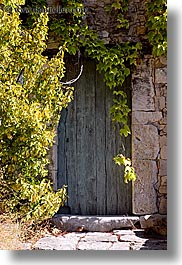 bargeme, doors, europe, france, hangings, ivy, nature, over, plants, provence, trees, vertical, photograph