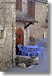 bargeme, chairs, colors, europe, france, materials, plastic, provence, purple, stones, tables, vertical, photograph