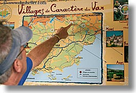 bargeme, europe, france, horizontal, map, men, people, pointing, provence, photograph