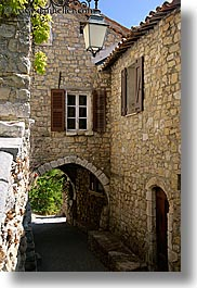 arches, archways, bargeme, europe, france, lamps, materials, provence, stones, structures, tunnel, vertical, photograph