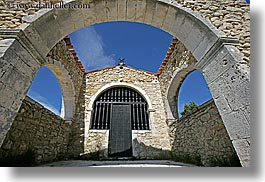 arches, archways, bargeme, blues, colors, doors, europe, france, horizontal, materials, provence, stones, structures, windows, photograph