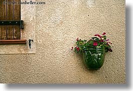 castellane, colors, europe, france, geraniums, green, horizontal, provence, red, walls, photograph