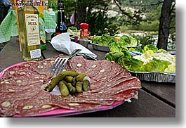 castellane, europe, france, horizontal, meats, picnic, plates, provence, slices, photograph