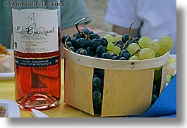 castellane, colors, europe, foods, france, grapes, horizontal, picnic, provence, red, wine bottle, wines, photograph