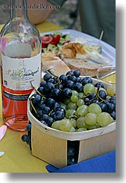 castellane, colors, europe, foods, france, grapes, picnic, provence, purple, red, vertical, wine bottle, wines, photograph
