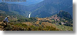 castellane, europe, france, hikers, hilltop, horizontal, panoramic, provence, scenics, towns, photograph