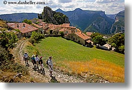 castellane, europe, france, hikers, hilltop, horizontal, provence, scenics, towns, photograph
