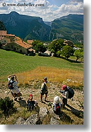 castellane, europe, france, hikers, hilltop, provence, scenics, towns, vertical, photograph