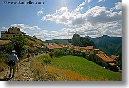 castellane, clouds, europe, france, hikers, hilltop, horizontal, nature, provence, scenics, sky, towns, photograph