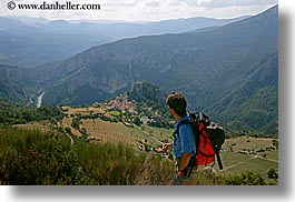 backpack, castellane, clothes, colors, europe, france, hikers, hilltop, horizontal, men, nicos, people, provence, red, scenics, villages, photograph