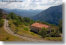 castellane, clouds, europe, france, horizontal, houses, mountains, nature, provence, roads, scenics, sky, photograph