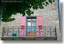 balconies, castellane, colorful, colors, doors, europe, france, green, horizontal, leaves, pink, provence, towns, trees, photograph
