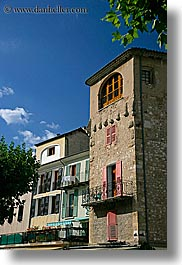 blues, buildings, castellane, europe, france, provence, sky, towns, vertical, photograph