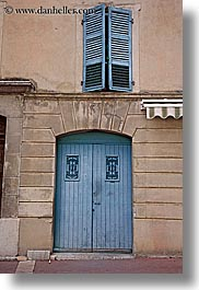 blues, castellane, doors, europe, france, provence, towns, vertical, windows, photograph