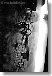 abstracts, arts, black and white, castellane, dangling, europe, france, keys, provence, towns, vertical, photograph