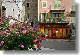 buildings, castellane, europe, flowers, france, horizontal, provence, towns, photograph