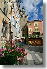 buildings, castellane, europe, flowers, france, provence, towns, vertical, photograph
