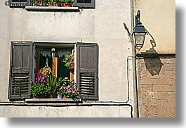 castellane, europe, flowers, france, horizontal, lamps, provence, towns, windows, photograph