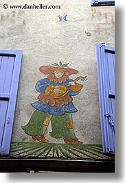 castellane, europe, france, lute, murals, musicians, provence, towns, vertical, photograph